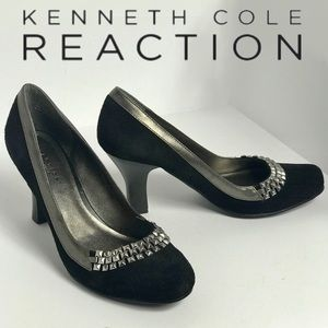Kenneth Cole Reaction Studded Toe Black Suede Heel